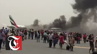 Must See: Emirates passengers flee burning plane