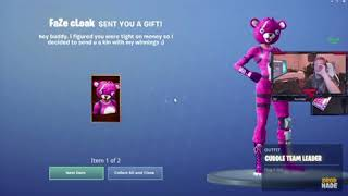 Tfue Receives Gifted Skins from imtimthetatman and Faze Cloak Fortnite Battle Royale New Gifting