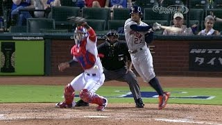 Altuve jumps while swinging, makes contact
