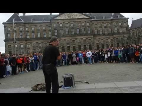 street performer in dam square,amsterdam