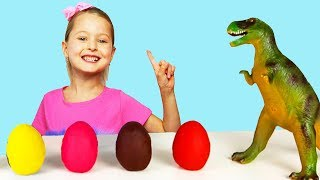 Kids Learn Colors Numbers Alphabet Dinosaur Eggs Surprise Toys Kinetic Sand For Babies