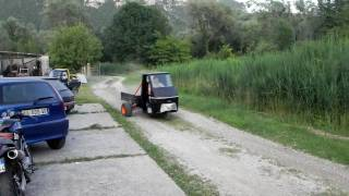 Homemade 600cc. Ape Piaggio first test run.