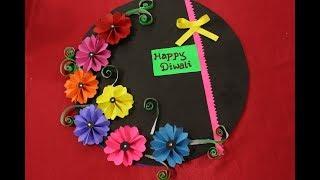 Easy Diwali card making Ideas 2017 |Diwali greeting card making for kids |Handmade diwali card steps
