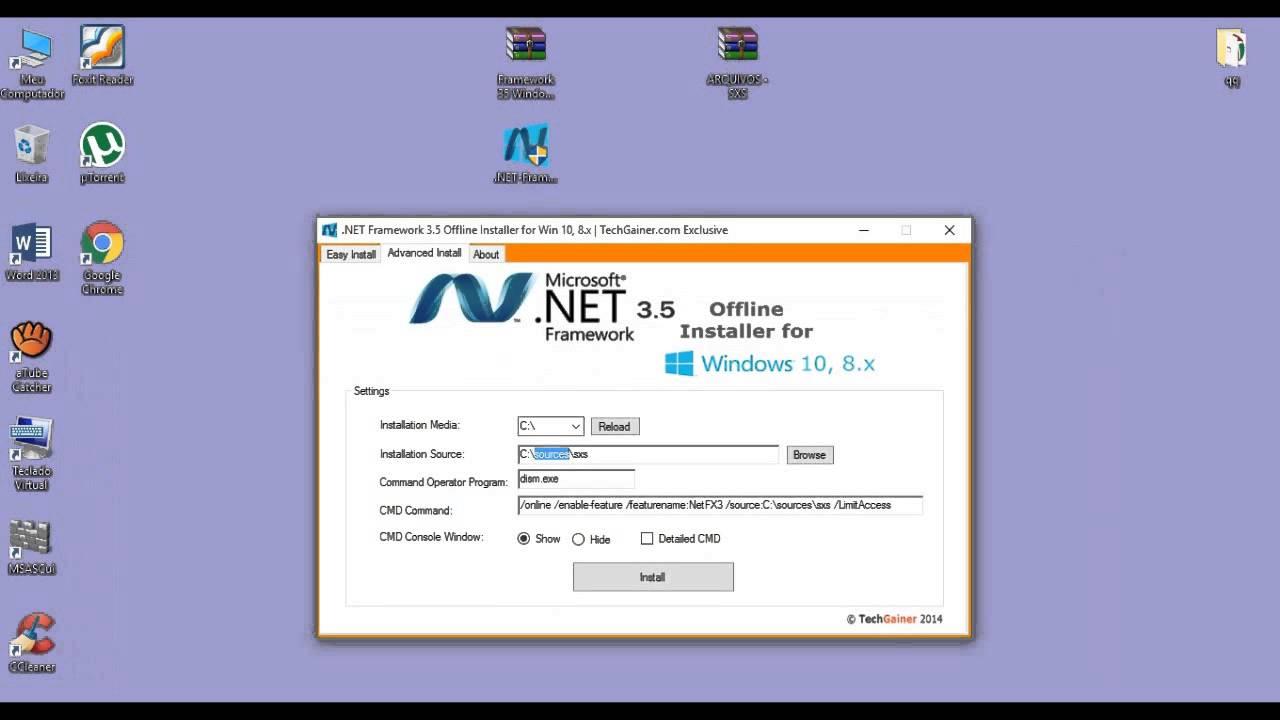 como instalar net framework 3 5 en windows 10