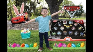 NEW 2018 CARS 3 MINI RACERS 15 pack, CARS 3 TOYS egg hunt at the park, CARS DERBY MINI RACERS
