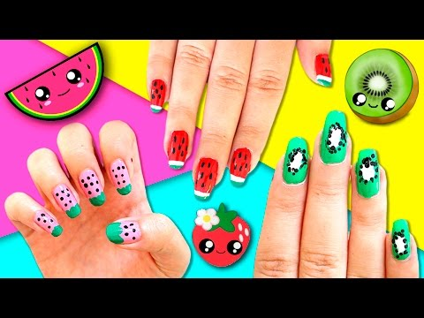 FRUITS nail art DESIGNS * Strawberry, WATERMELON and KIWI nail art COMPILATION