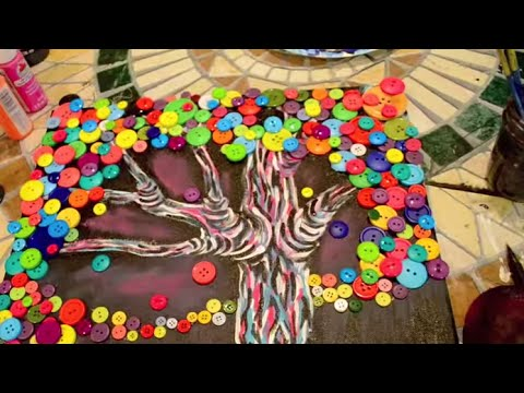 How To Make A Button Tree Painting Dramaticparrot Youtube
