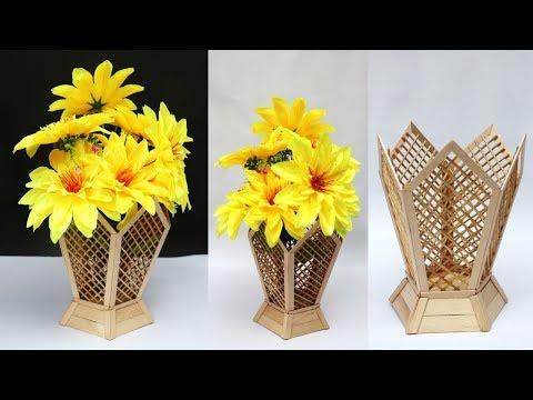 DIY flower vase    ice cream stick craft idea    handmade flower pot