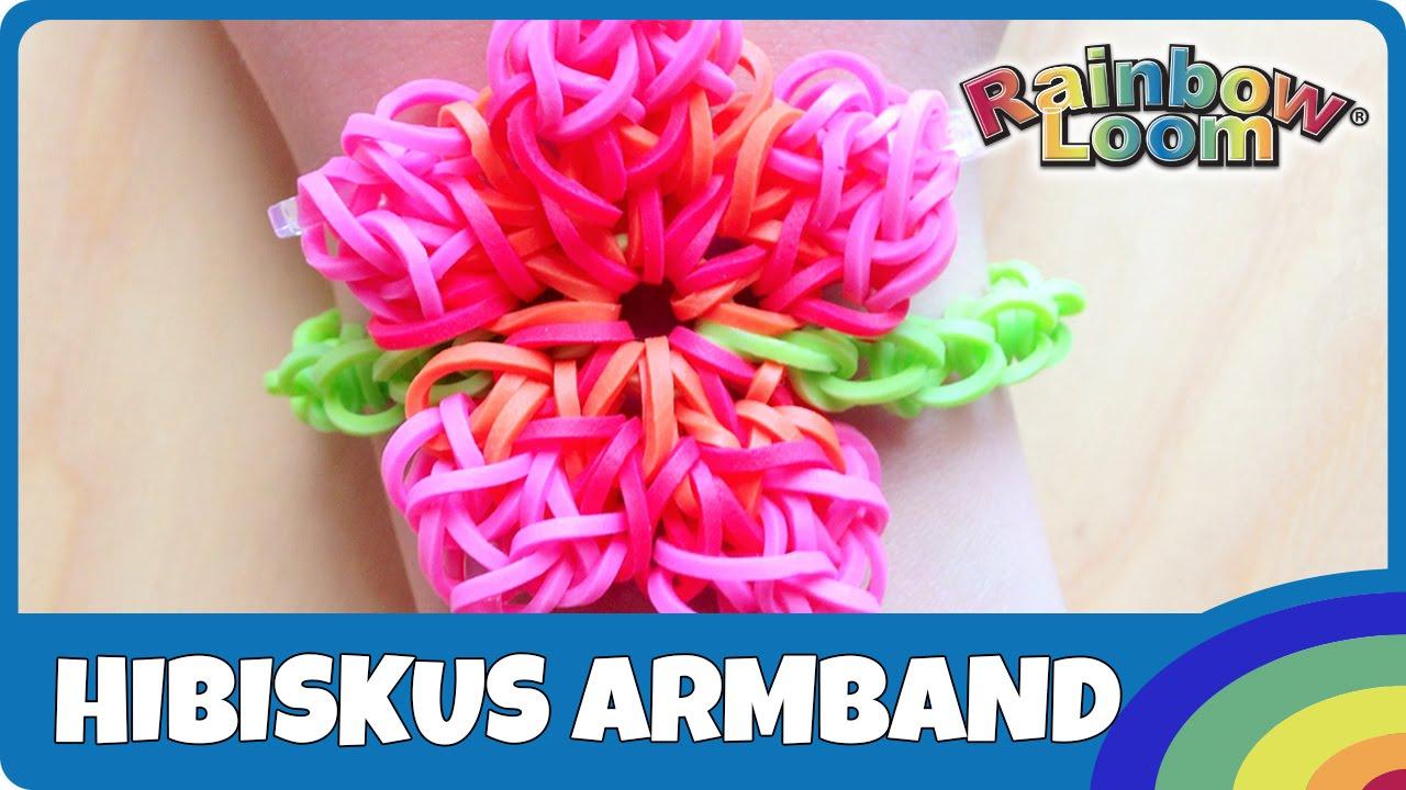 rainbow loom hibiskus armband deutsche anleitung youtube