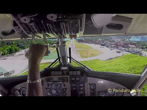 Winair Flight St Maarten to St Barth Cockpit view Amazing Takeoff and Landing