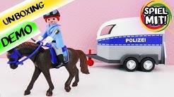 Playmobil POLIZEI Pferd mit Anhänger | Unboxing und Demo Pferdeanhänger, Reiterin und Pferd