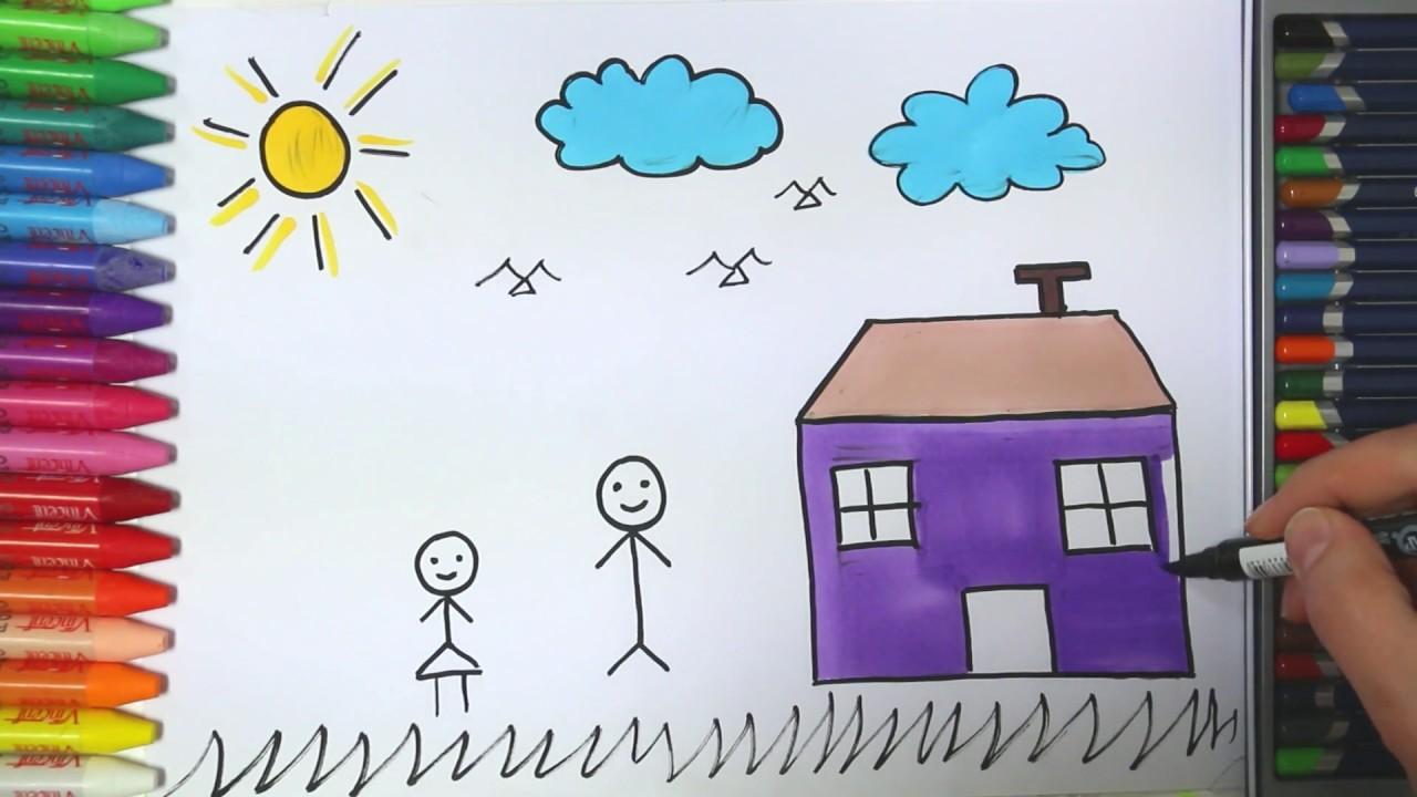 Çocuk Ev Güneş Bulut nasıl çizilir - Çizelim Boyayalım