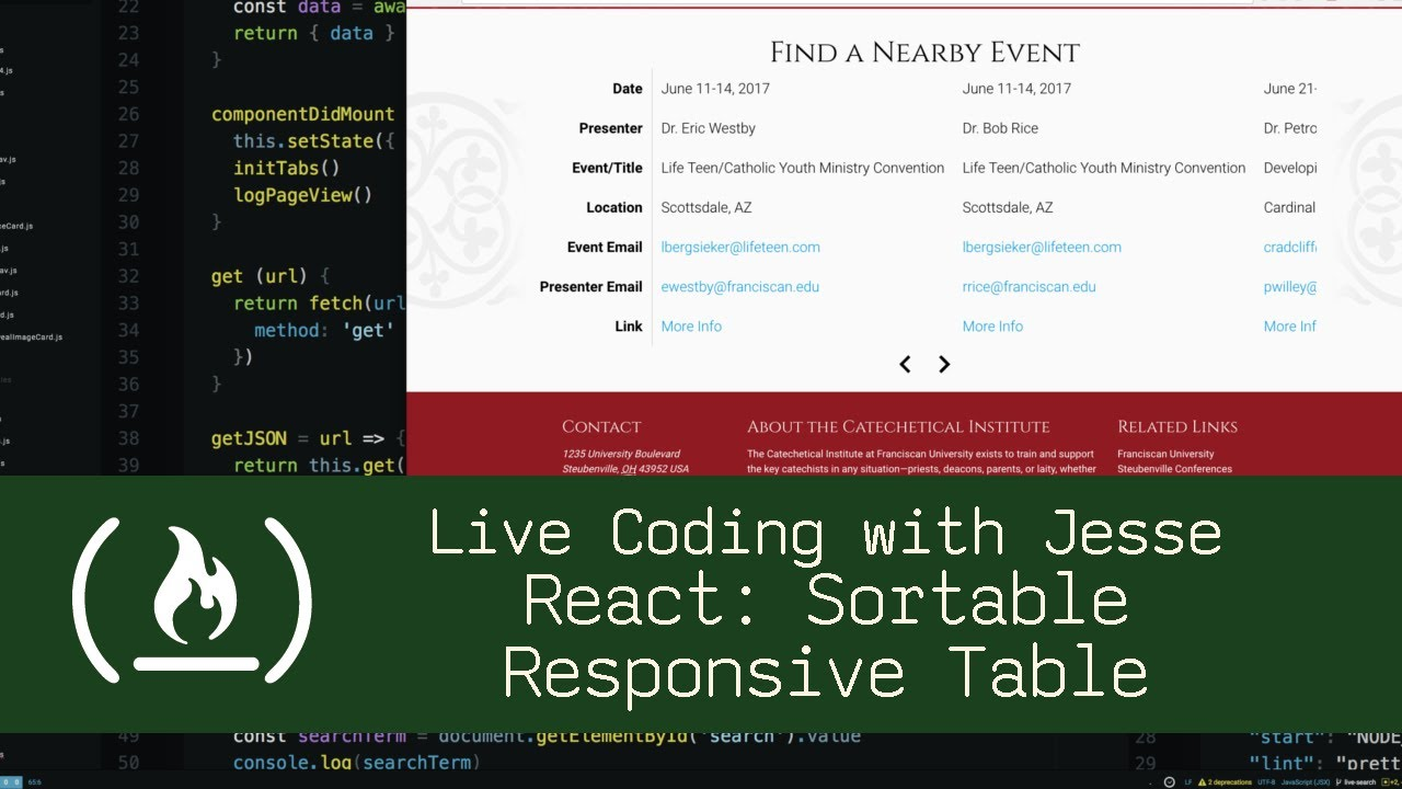React: Sortable Responsive Table - Live Coding with Jesse