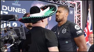 ANTHONY JOSHUA GIVES ICE COLD STARE TO ANDY RUIZ JR - HEAD TO HEAD @ FINAL PRESS CONFERENCE (LONDON)