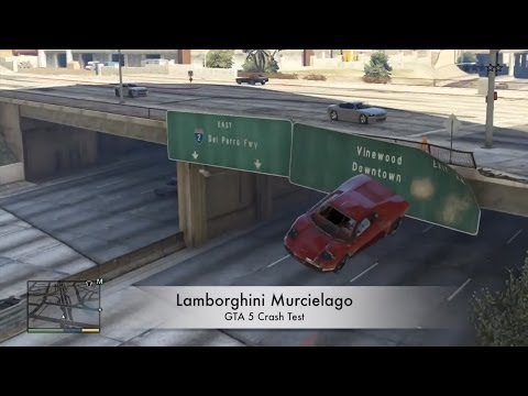 GTA 5 V XBOX 360 Lamborghini Murcielago CRASH TESTING GAMEPLAY