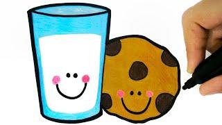 HOW TO DRAW A CUP OF MILK AND COOKIE - COMO DESENHAR UM COPO DE LEITE KAWAII