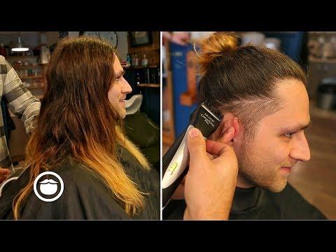 Long Hair With Taper Fade Barbershop Haircut Youtube