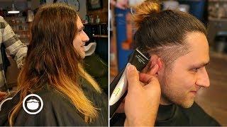 Long Hair with Taper Fade Barbershop Haircut