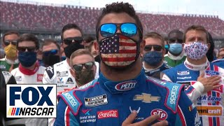 Bubba Wallace emotional as NASCAR's drivers, Richard Petty stand with him | NASCAR ON FOX