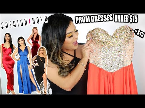 TRYING ON FASHION NOVA PROM DRESSES!! *UNDER $15*