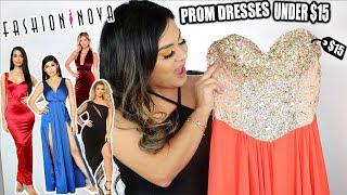 TRYING ON FASHION NOVA PROM DRESSES!! *UNDER $15*