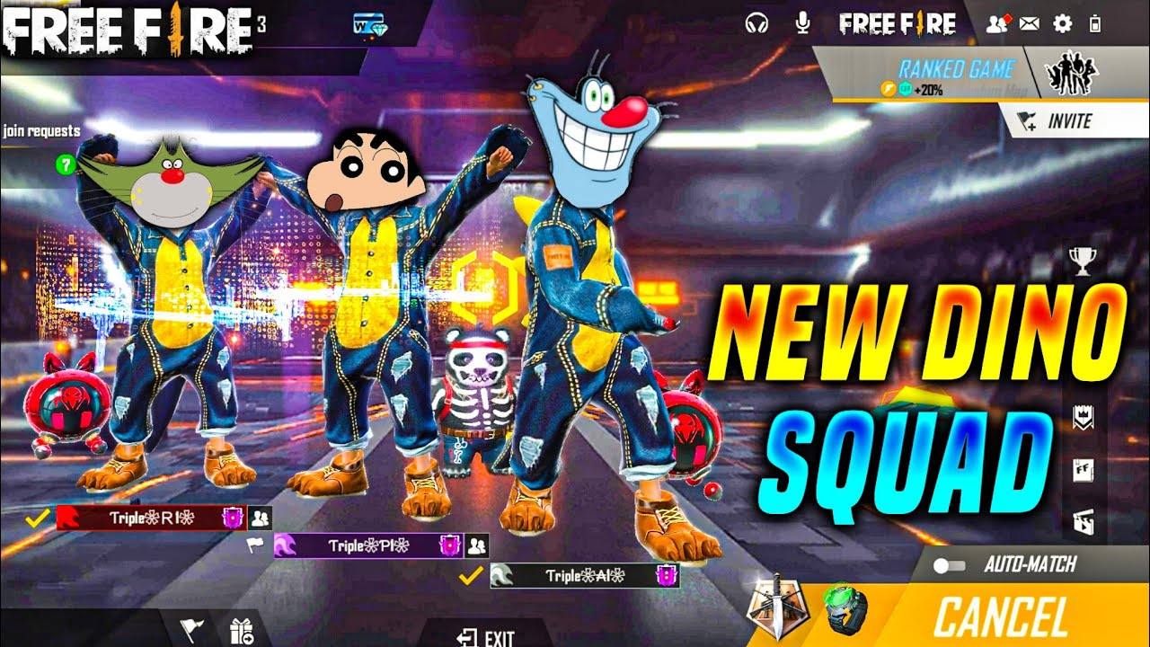 Free fire New Dino Squad Gameplay ft. Oggy Jack Sinchan | Oggy Free fire | free fire | Triple slot