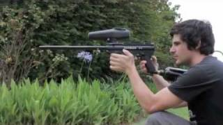 paintball gun shooting nylon self defence balls at watermelon