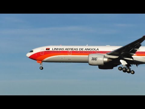 TAAG Linhas Aereas de Angola Airlines B777-300 landing Lisbon Airport D2-TEI
