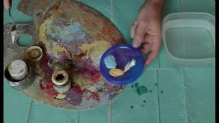 Уроки живописи маслом - Где и как хранить оставшуюся масляную краску (замес) - Юрий Клапоух (2019)