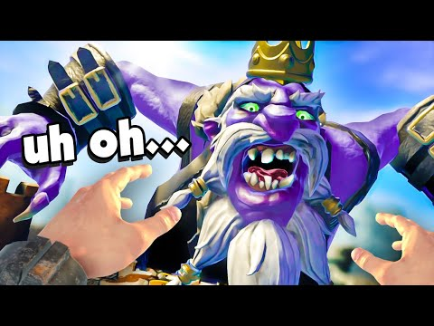 Throwing BOMBS at a GIANT TROLL King! - Good Goliath VR