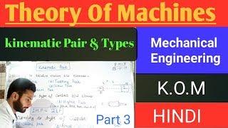 3) Kinematic Pairs - Lower, Higher, Turning, Rolling, Screw, Sliding, Spherical - Hindi