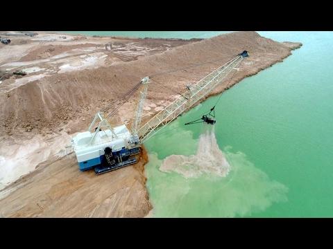 Lime Rock Mine Rock Quarry Walking Drag Line working Phantom 4 Pro 4K
