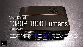 VisualGreat 1800 Lumens Projector GP80  LED HD 1080P