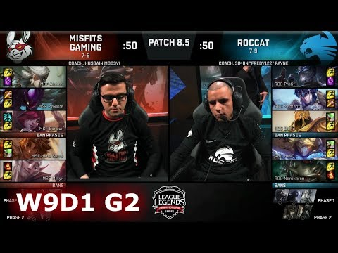 Misfits vs ROCCAT  Week 9 Day 1 of S8 EU LCS Spring 2018  MSF vs ROC W9D1 G2