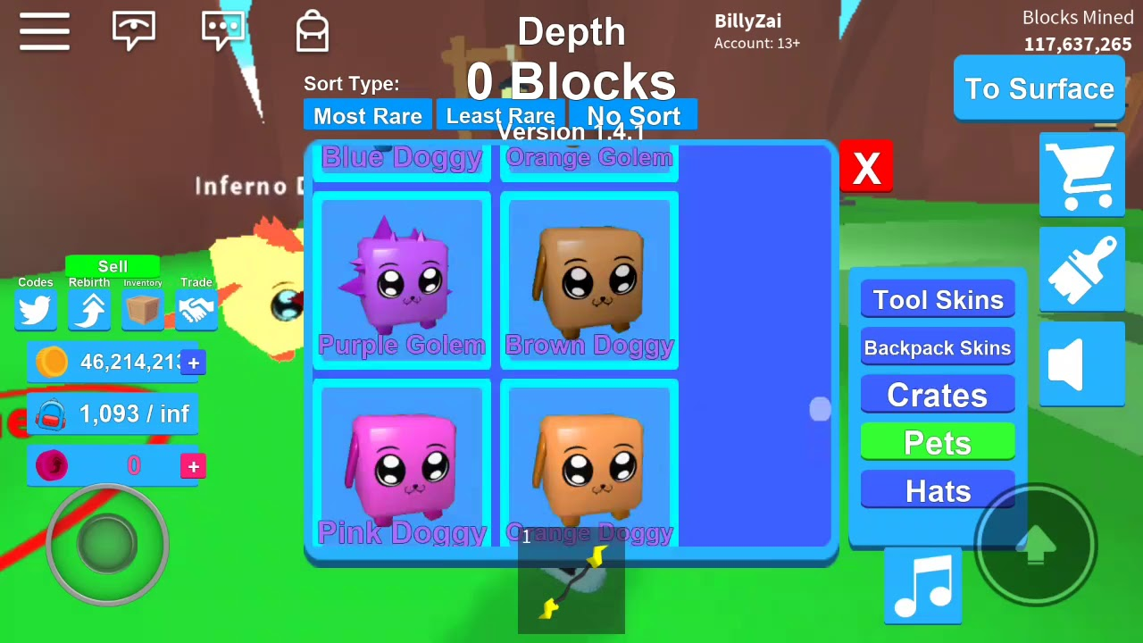 Roblox Mining Simulator Version 1 4 1 Hatching The New Mythical