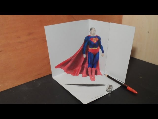 Art Drawing 3D Superman, How to Draw 3D Heroes, Artistic Graphic Heroes