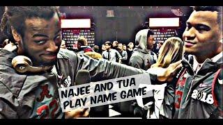 Najee Harris and Tua Tagovailoa play name game at CFB Playoff Media Day