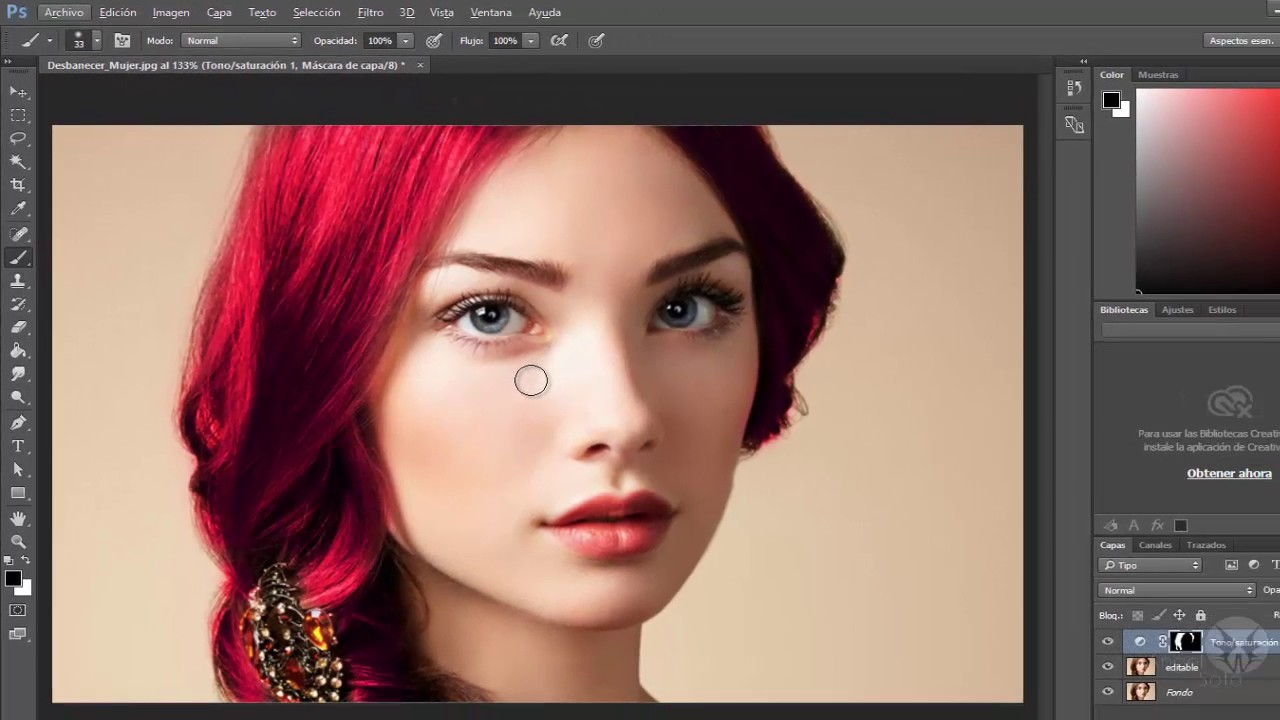 Cambiar color de cabello photoshop gratis