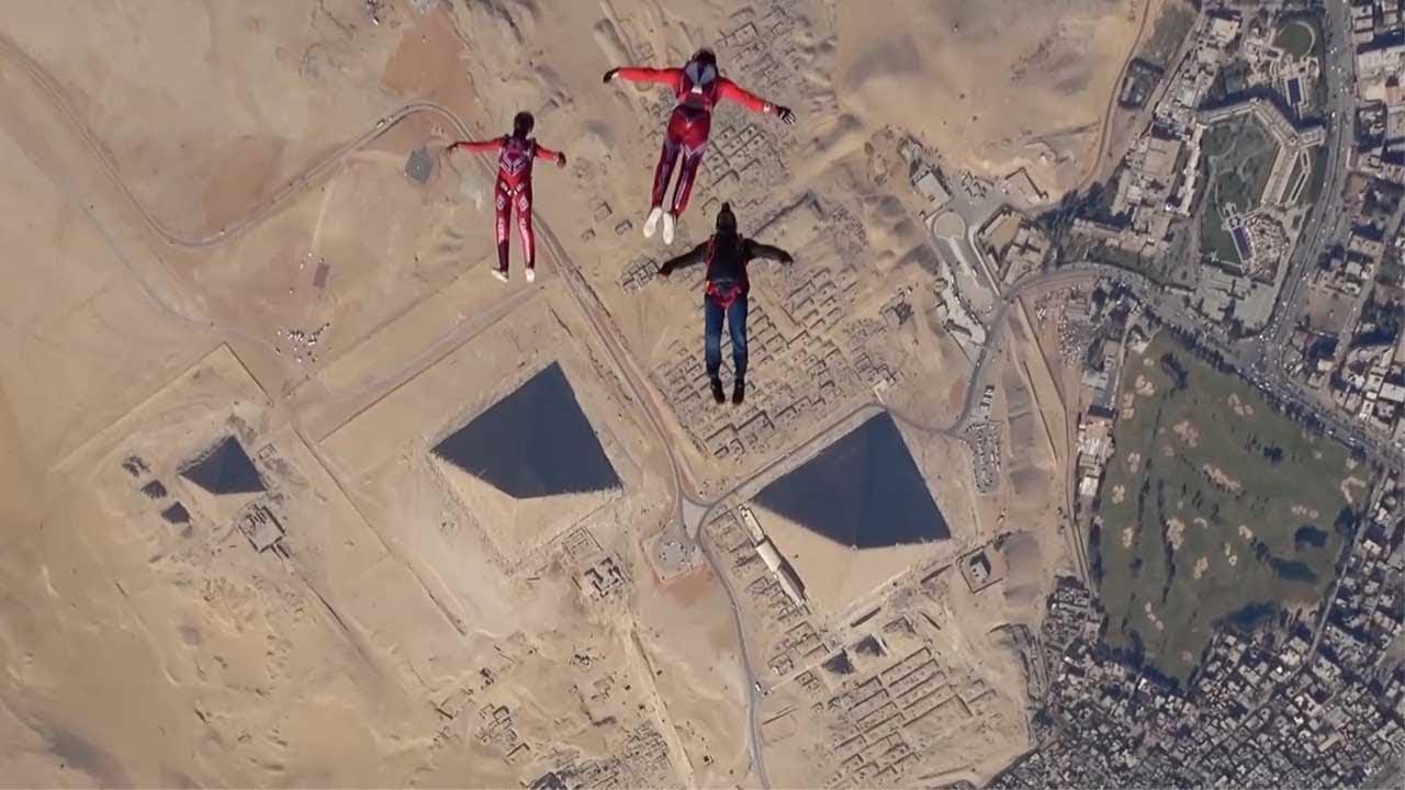 Skydivers Soar Above Egyptian Pyramids: Greg Crozier & Karine Joly, freefly  world champions - YouTube