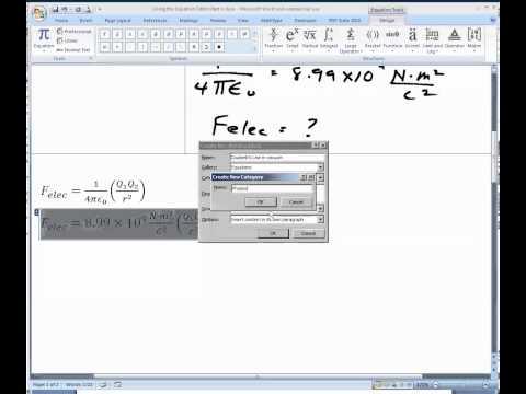 Using The Equation Editor, Part V
