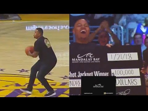 Lakers Fan Hits Half Court Shot and Wins $100,000 Dollars!