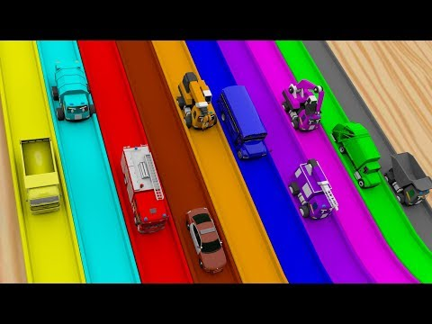 Toy Cars Play on Magic Rainbow Slide! Learning Colors for Kids