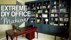 EXTREME DIY Office Makeover!! - DIY Build-in Book Shelves- At Home Decor