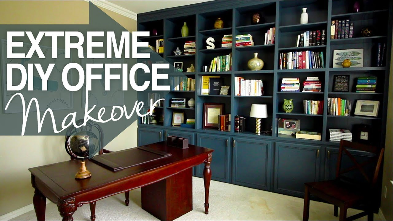 office book shelf. EXTREME DIY Office Makeover!! - Build-in Book Shelves- At Home Decor Shelf \