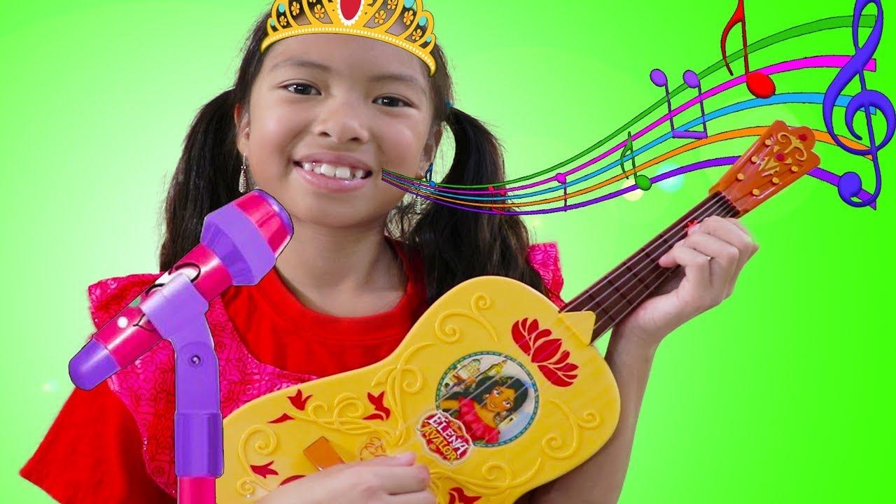 Wendy Pretend Play w Guitar Toy as Disney Princess Elena & Sings Nursery Rhymes Kids Songs