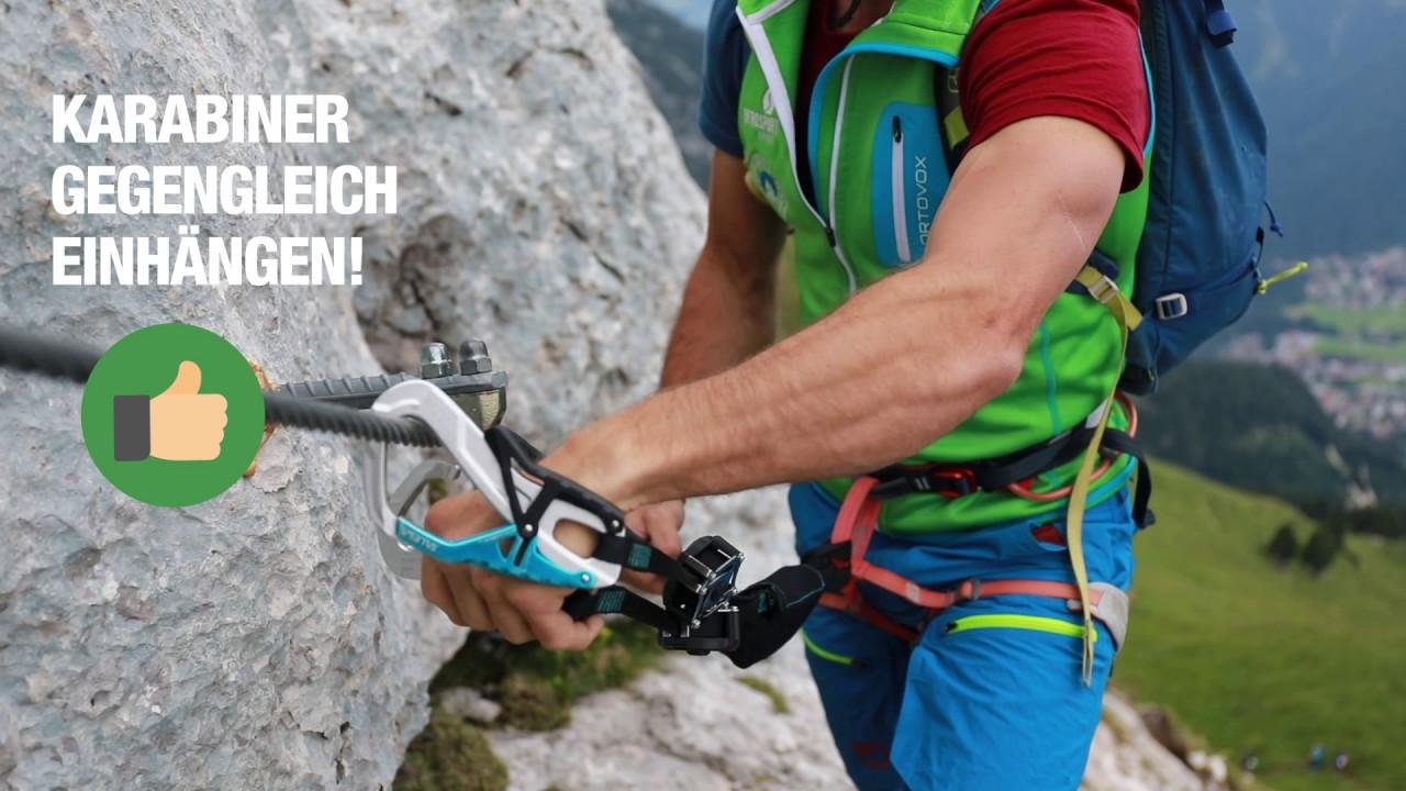 Klettersteigset Richtig Einhängen : Richtig einhängen und umhängen am klettersteig youtube