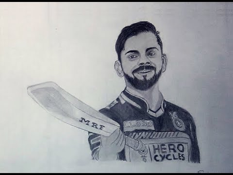 How to draw virat kohli step by step speed realistic sketch drawing sanjay m arts