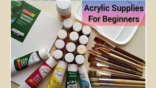 Acrylic Painting Supplies for beginners    Basic supplies for Acrylic paint  Essential art supplies