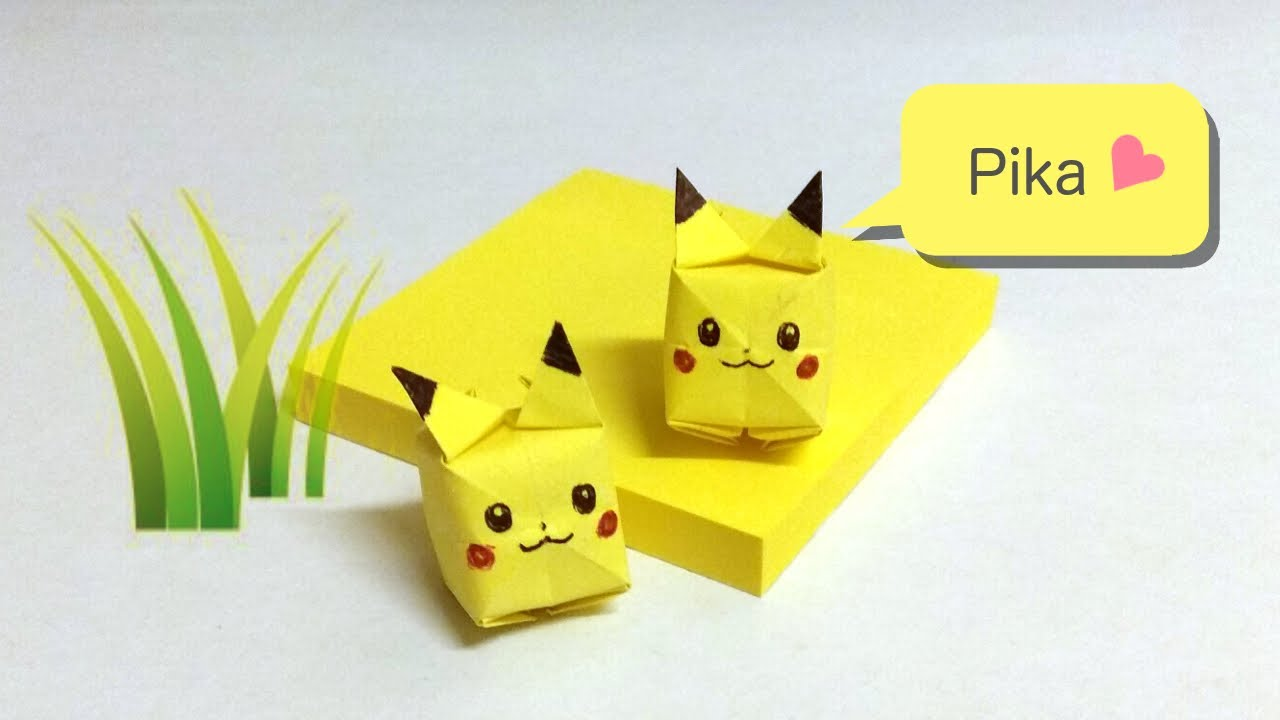 Pikachu sticky note origami youtube pikachu sticky note origami jeuxipadfo Images