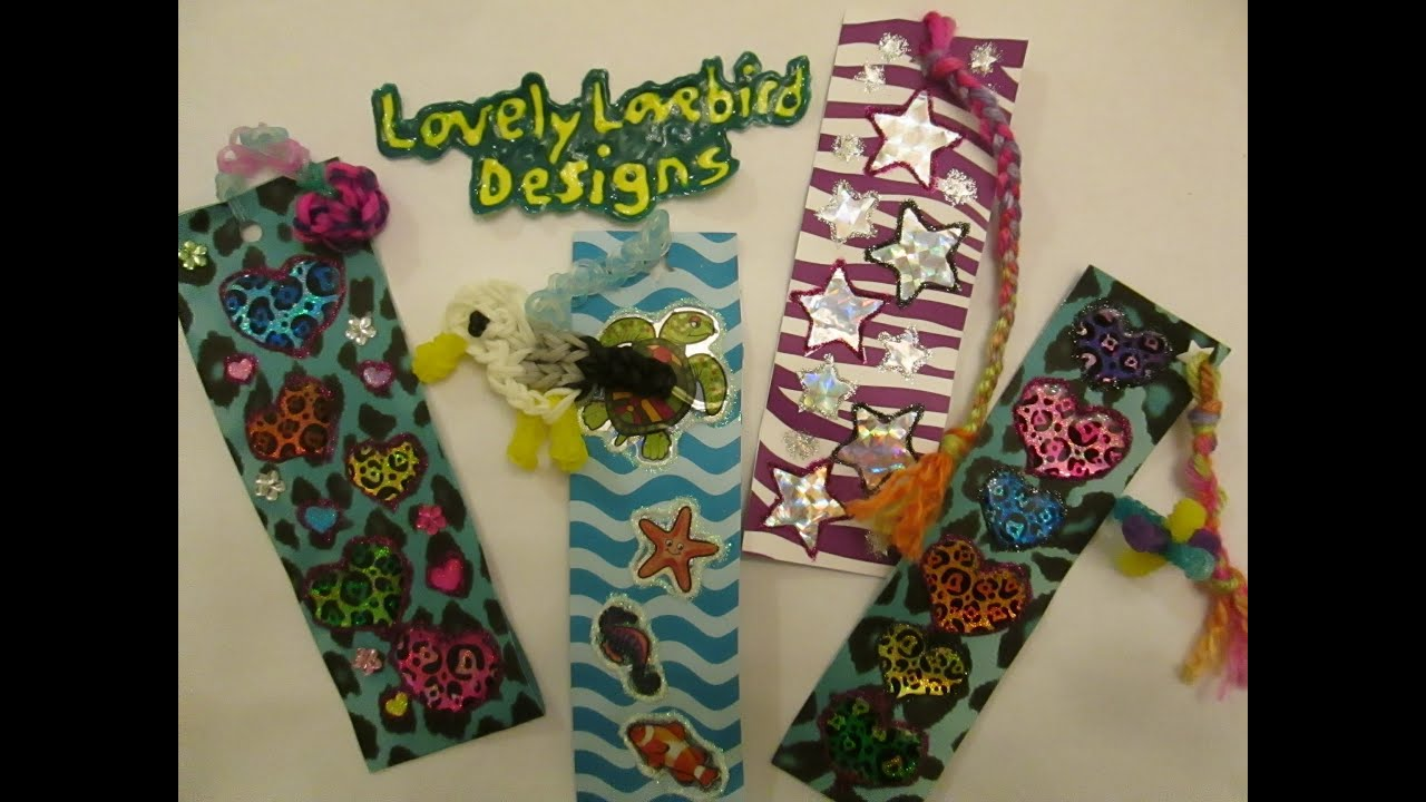 Scrapbook paper diy - Diy Crafts Bookmark With Scrapbook Paper Stickers Glitter Glue With Rainbow Loom Charms Youtube